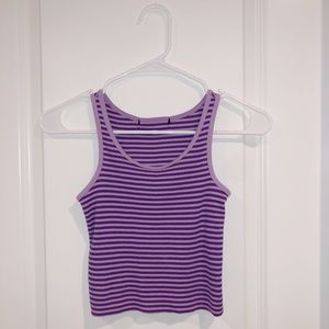 🌟 PURPLE STRIPED CROP TOP (RIBBED TANK)